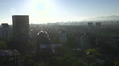 City in sunrise with bird crossing Sofia Bulgary Stock Footage