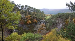 Autumn colour and mountains at Falls of Foyers in Scotland Stock Footage