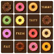 collection of doughnuts - stock illustration