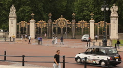 Visitors in front of Buckingham Palace, London Stock Footage