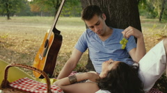 Couple on picnic, outdoor. Stock Footage