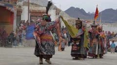 Masked dancers at masked dance festival,Lamayuru,Ladakh,India Stock Footage