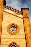 italy  lombardy    in  the  cortese   old   church  closed brick tower wall - stock photo