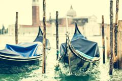 gondola floating on the channel - stock photo