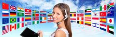 Call center operator global international communications concept Stock Photos