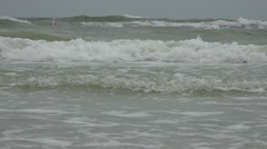 Waves Crashing Into Beach On Stormy Day 04 Stock Footage