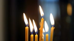 candles are lit, and faded out - stock footage