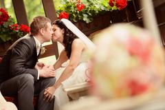Bride and groom in a beautifully decorated room - stock photo