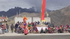 Masked dancers at masked dance festival,Lamayuru,Ladakh,India - stock footage