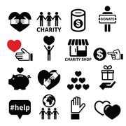 Stock Illustration of Charity, helping other people icons