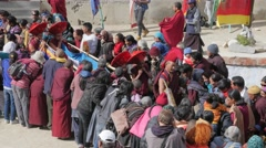 Monks leaving after first day of masked dance festival,Lamayuru,Ladakh,India Stock Footage