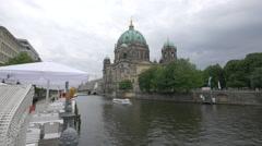 Boat floating near the Berliner Dom Stock Footage