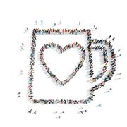 People in the shape of a circle, heart. Stock Illustration