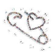 people in the shape of a pin, heart. - stock illustration