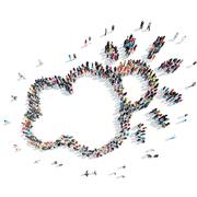 People in the shape of a cloud, weather. Stock Illustration
