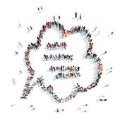 people in the shape of a buble chat . - stock illustration