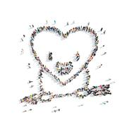 people in the shape of heart, cardio. - stock illustration