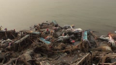 Water pollution from the Ganges to India after a feast in India Stock Footage