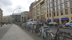 An der Spandauer Brucke with bikes in Berlin Stock Footage