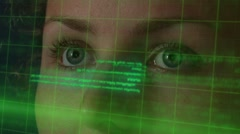 Female Programmer Looking on Futuristic Hi-tech Hologramic Display with Code Stock Footage