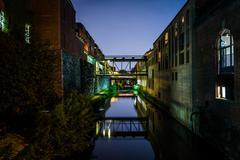 The Chesapeake & Ohio Canal at night, in Georgetown, Washington, DC. - stock photo