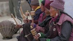 Spectators watching the masked dance festival,Lamayuru,Ladakh,India Stock Footage