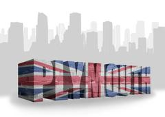 text Plymouth with national flag of great britain - stock illustration
