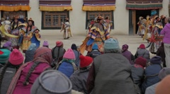 Spectators watching the masked dance festival,Lamayuru,Ladakh,India - stock footage