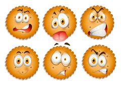 Facial expressions on cookies - stock illustration