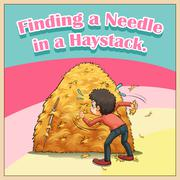 Finding a needle in a haystack Stock Illustration