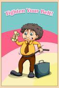 Tighten your belt idiom - stock illustration