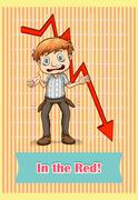 Idiom saying in the red - stock illustration