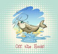 English idiom off the hook Stock Illustration
