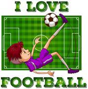 Boy in sportswear playing football - stock illustration