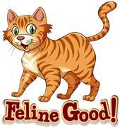 Ginger cat standing alone Stock Illustration