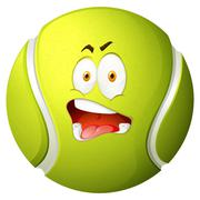 Tennis ball with silly face - stock illustration