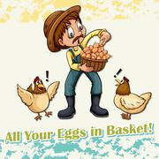 All your eggs in basket idiom Stock Illustration