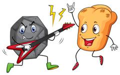 Rock and roll playing music - stock illustration