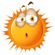 Bright sun with sleepy face Stock Illustration