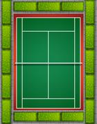 Tennis court with bushes around - stock illustration