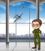 Airforce pilot at base Stock Illustration