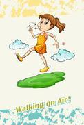 Idiom walking on air - stock illustration