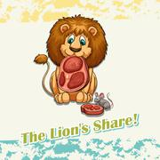 The lion's share idiom Stock Illustration