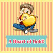 Heart of gold idiom Stock Illustration