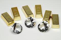 gold bars and diamonds - stock photo