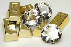 gold bars and diamonds - stock photo