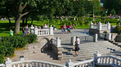 Moscow cityscape. Manezhnaya Square, Kremlin, people strolling, steadicam Stock Footage