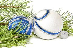 Christmas spruce and blue with white glitter balls - stock photo
