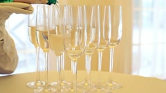 Champagne. Many Glasses with Sparkling Champagne Stock Footage