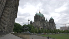Berliner Dom seen from Altes Museum in Berlin Stock Footage